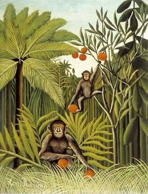 Henri Julien Rousseau - Two Monkeys in the Jungle
