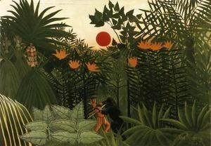 Henri Julien Rousseau - Exotic Landscape, Fight between Gorilla and Indian