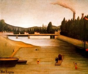 Henri Julien Rousseau - Bathing at Alfortville