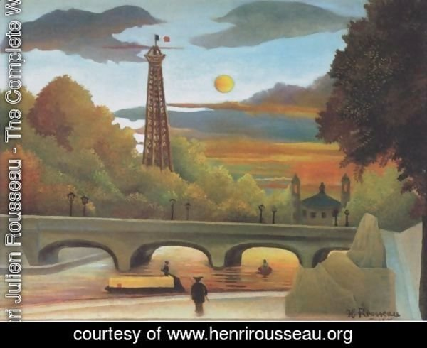 Henri Julien Rousseau - Seine and Eiffel tower in the sunset