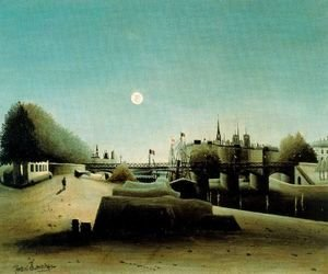 Henri Julien Rousseau - A View of the Ile Saint Louis from Port Saint Nicolas Evening