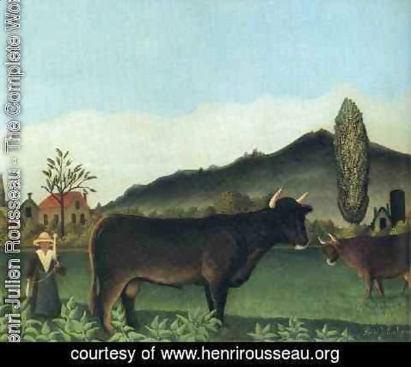 Henri Julien Rousseau - (Landscape with cow)