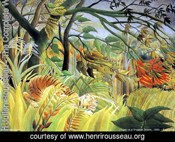 Henri Julien Rousseau - Tiger In A Tropical Storm   Surprised