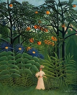 Henri Julien Rousseau - Woman Walking In An Exotic Forest
