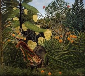 Henri Julien Rousseau - Fight Between A Tiger And A Buffalo