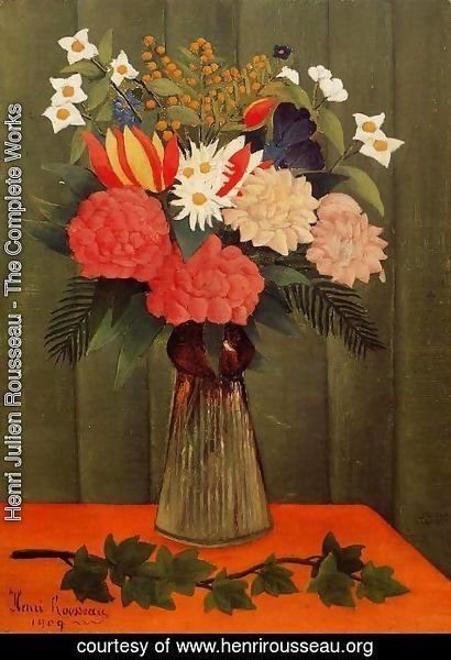 Henri Julien Rousseau - Bouquet Of Flowers With An Ivy Branch