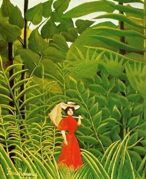 Henri Julien Rousseau - Woman With An Umbrella In An Exotic Forest