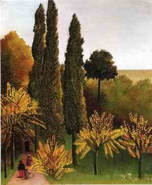 Henri Julien Rousseau - Walking In The Parc Des Buttes Chaumont