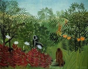 Henri Julien Rousseau - Tropical Forest With Apes And Snake