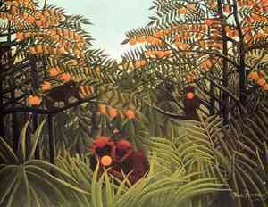 Henri Julien Rousseau - Apes In The Orange Grove
